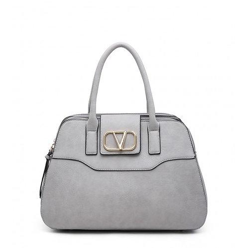 Dual Zipper Shoulder Bag - Grey