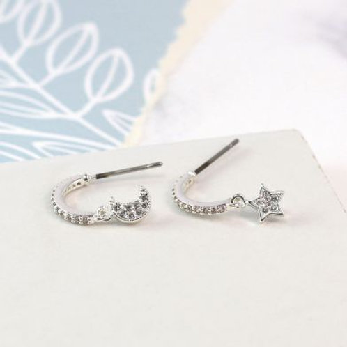 Silver Plated Crystal Moon & Star Earrings