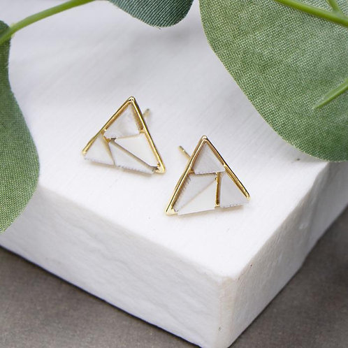 Triangle Earrings With Shell