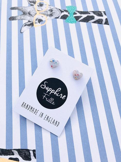 Mini Translucent Confetti Heart Studs