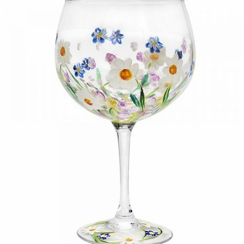 Hand Painted Gin Glass | Dainty Daises