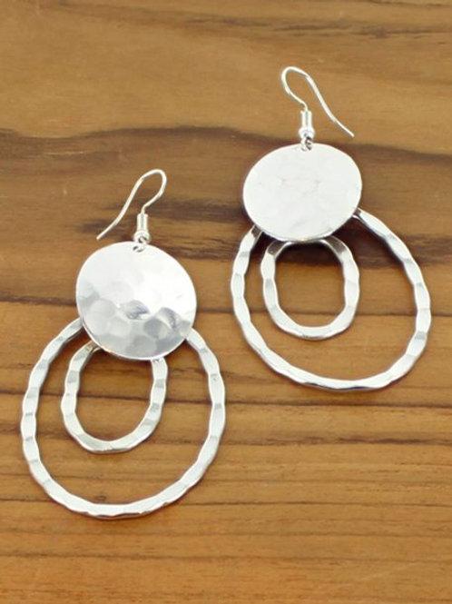 Beaten Disc & Double Ring Earring