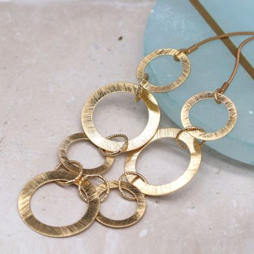 Scratched Golden Circles Necklace