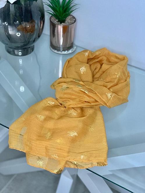 Mustard Foil Bee Print Scarf