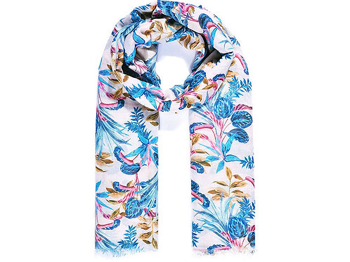 White & Turquoise Tropical Print Scarf
