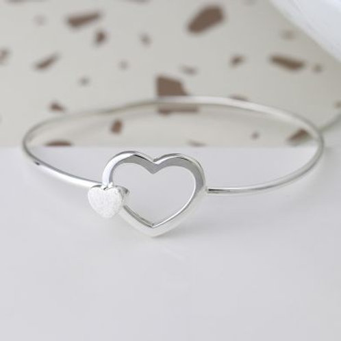Sterling Silver Double Heart Bangle