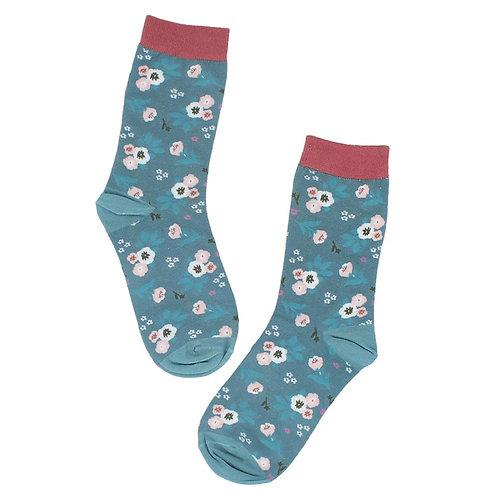 Floral Blue Socks