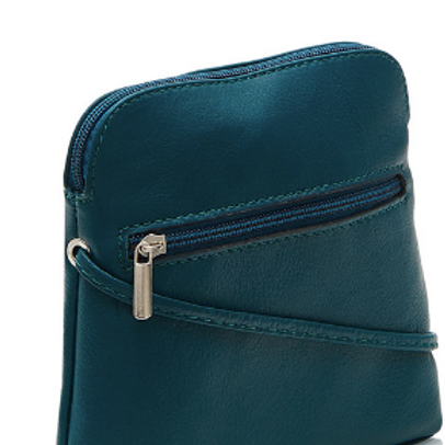 Leather Slim Crossbody Bag | Teal