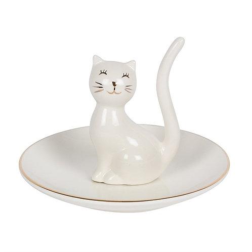 White Cat Trinket Tray