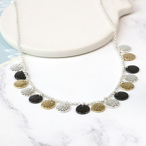 Mixed Finish Hammered Necklace