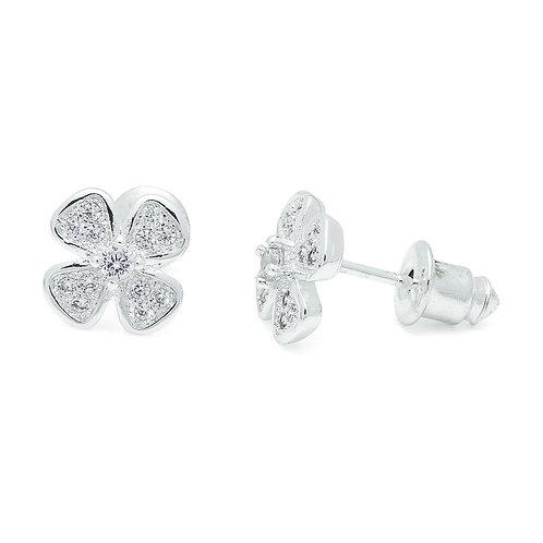 Four Leaf Clover CZ Earrings