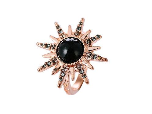 Rose Gold & Black Starburst Ring - S/M