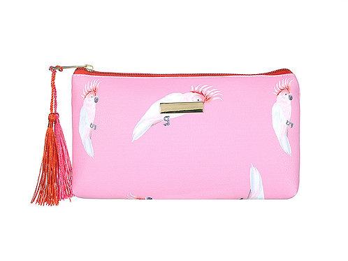Pink Parrot Small Flat Make Up Bag