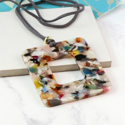 Multicoloured Resin Long Necklace