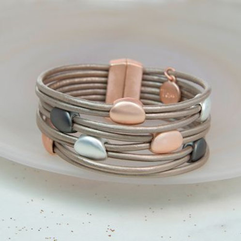 Taupe Leather Mixed Metallic Bracelet