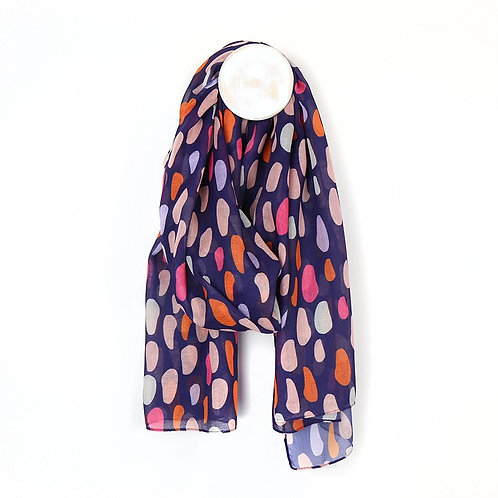 Recycled Blue & Pink Oval Heart Print Scarf