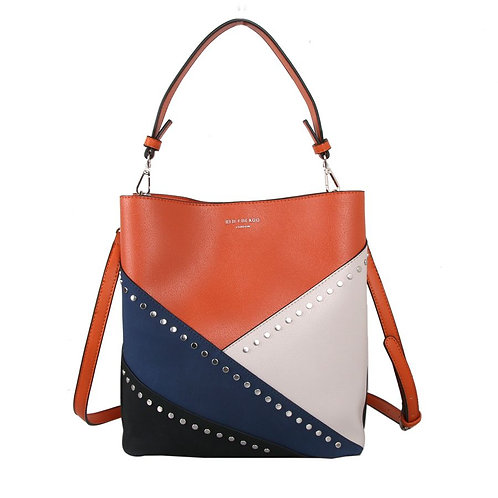 Red Cuckoo Orange Shoulder Bag With Navy And Cream Decorative Panels