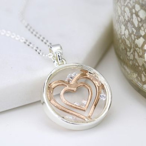 Circle Necklace With Rose Gold Hearts & Crystals