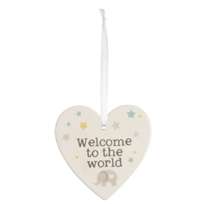 'Welcome To The World' Ceramic Baby Heart Sign