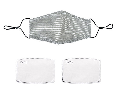 Grey Stripe Linen Face Mask With Filters & Nose Wire