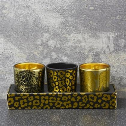 Set Of 3 Votive Candles Leopard Spot