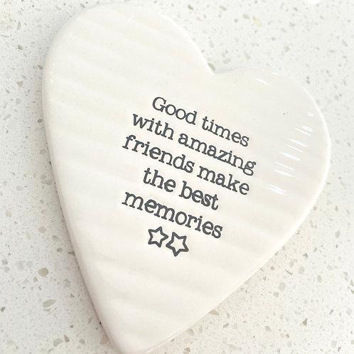 Heart Shaped Ceramic Coaster | Good Times