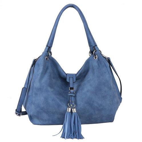 Red Cuckoo Blue Shoulder Bag With Tassel