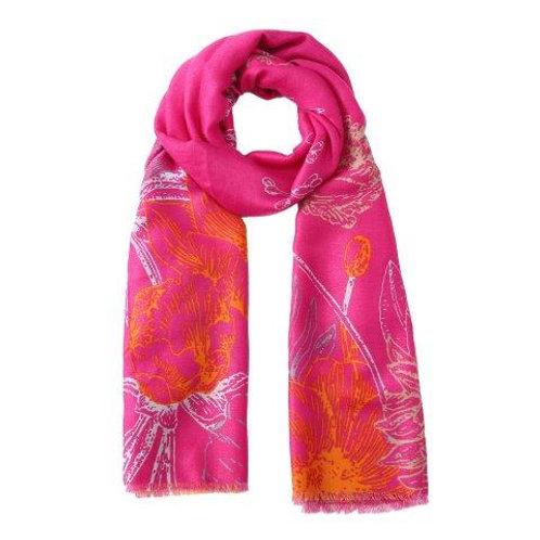 Sketch Floral Print Scarf | Pink