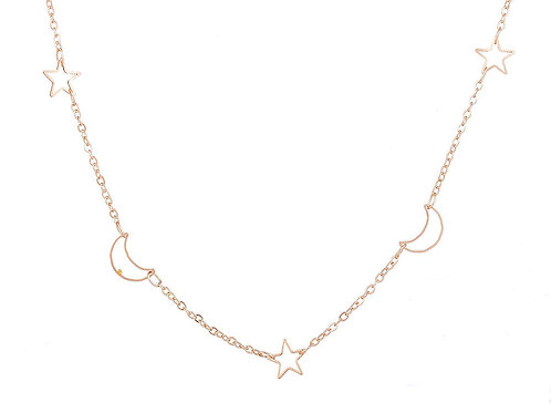 Gold Star & Moon Short Necklace