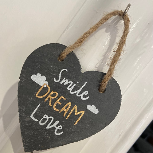 Slate Heart Decoration | Smile Dream Love