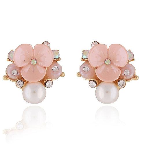 Pink Flower Blossom Stud Earrings