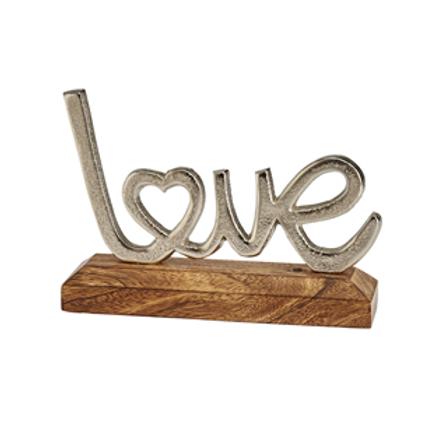 Silver Metal 'Love' On Wooden Block