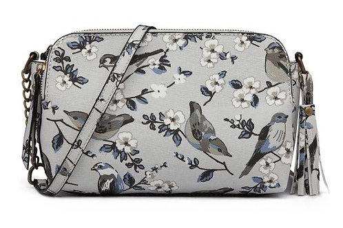 Canvas Bird Print Crossbody Bag - Grey