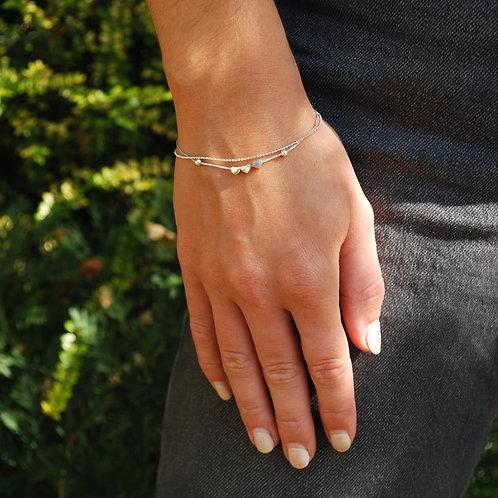 Sterling Silver 3 Tiny Hearts Bracelet