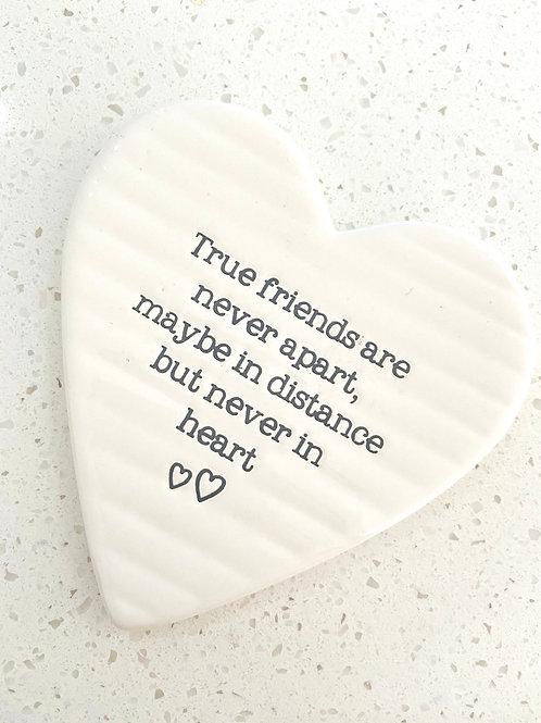 Heart Shaped Ceramic Coaster | True Friends
