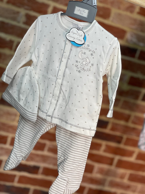 """Baby 3 Piece Cotton Unisex Knitted Set """"Welcome To The World"""" Print"""