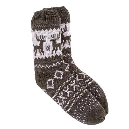 Totes Mens Sherpa Slipper Socks | Khaki