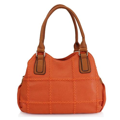 Two Tone Shoulder Bag | Orange & Tan