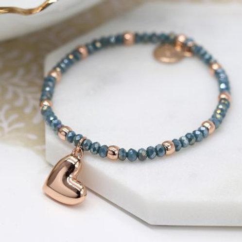 Rose Gold & Blue Beaded Bracelet