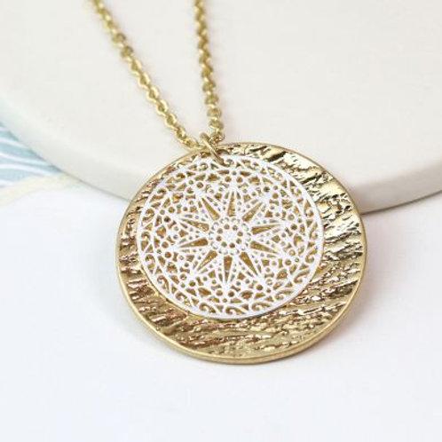 Matt Silver & Gold Worn Necklace