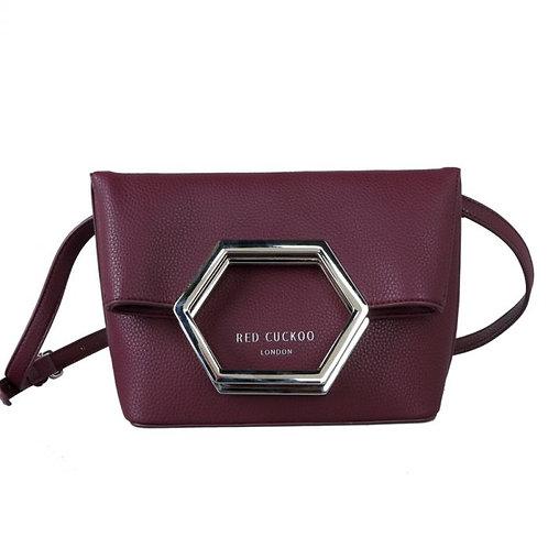 Red Cuckoo Hexagon Flap Over Crossbody Bag