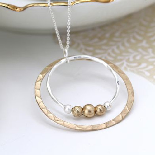 Two Tone Hoops & Bead Necklace