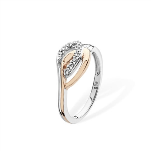 Sterling Silver Two Tone CZ Ring