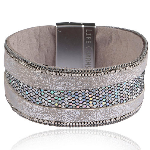 Silver Snake Sequin Colour Wrap Bracelet