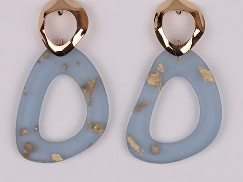 Blue / Gold Resin Drop Earring