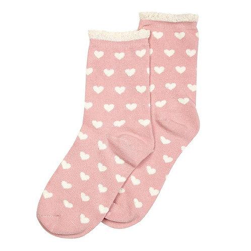 Heart Dusky Pink Socks