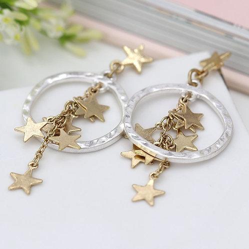 Worn Gold Multi Star Earrings