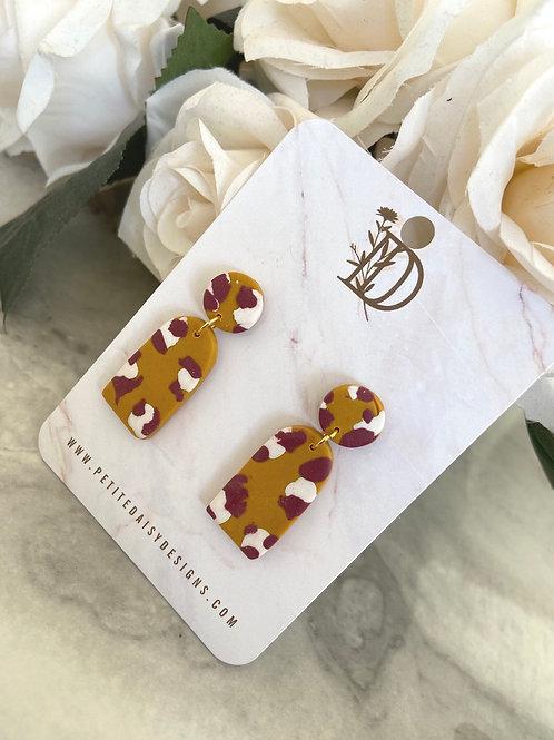 Cheetah Print Mustard Earrings