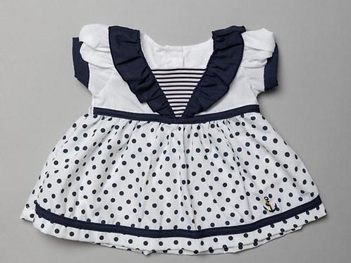 Baby Girls Polka Dot Sailor Dress, Pant & Headband Set
