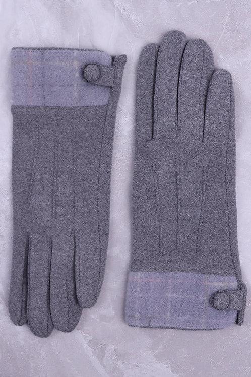 Trimmed Button Detail Glove Grey